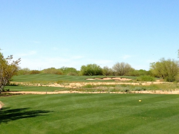 The back nine starts to heat up with the par 3(.5) elevents which calls for as much as a driver depending on the wind.
