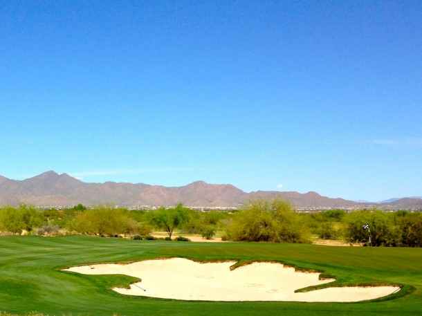 Looking back across the 18th green towards the mountains - After a most enjoyable walk.
